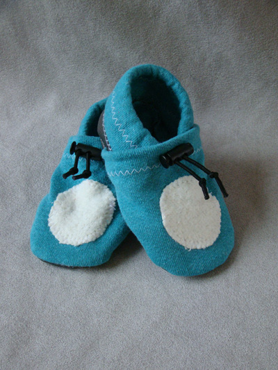 chaussons souples molleton turquoise